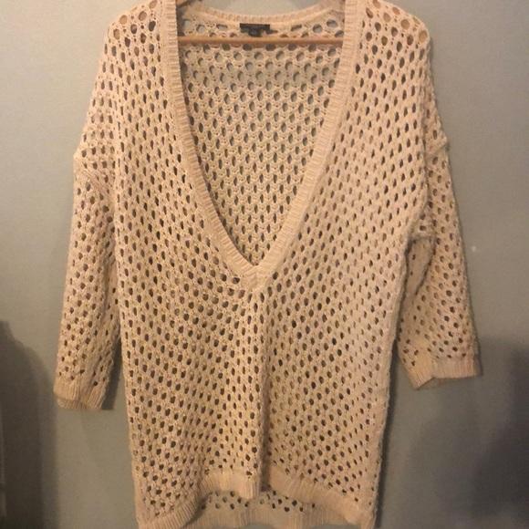 Ann Taylor Sweaters - Ann Taylor deep v-neck cream oversized sweater L